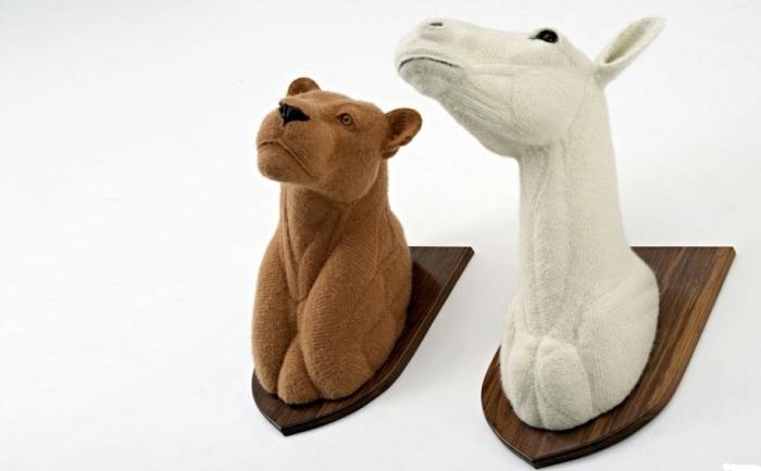 Искуственные головы животные особенно уместны будут в скандинавском интерьере.