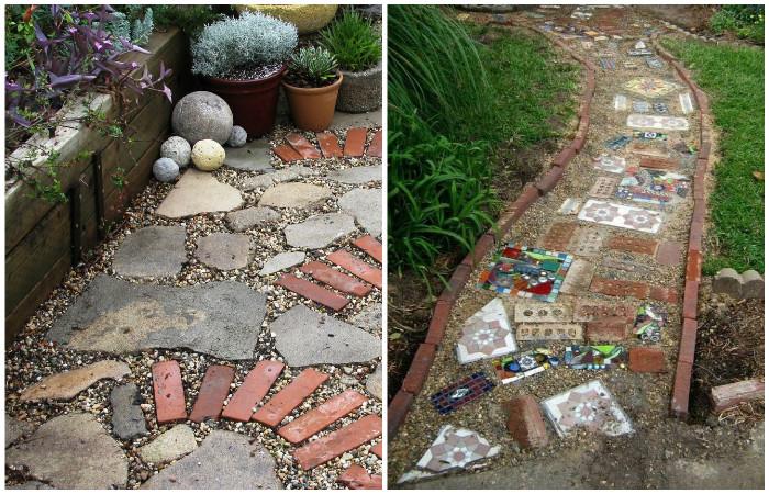 Садовые дорожки своими руками из остатков строительных материалов.