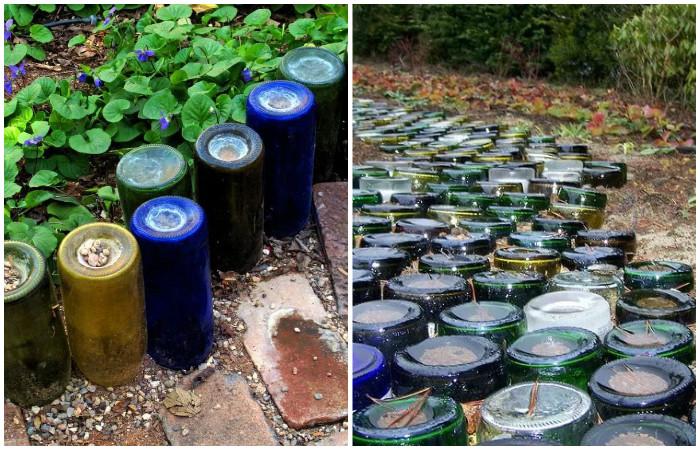 Садовая дорожка из стеклянных бутылок.