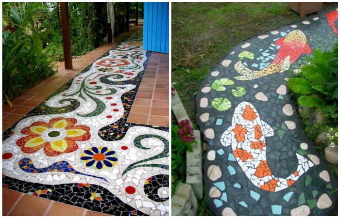 Яркая садовая дорожка из плитки.