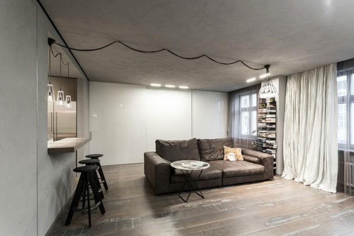 Барная стойка между кухней и комнатой.