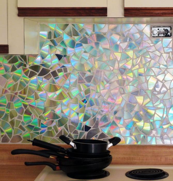 Мозаика из дисков своими руками на стену