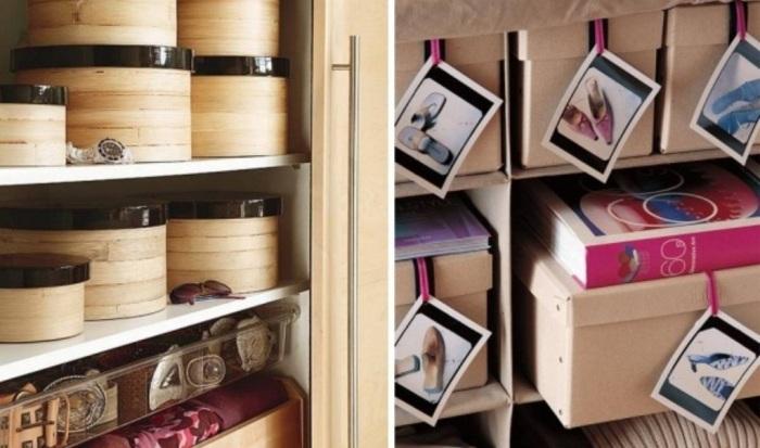 Коробки с фото для организованного хранения.