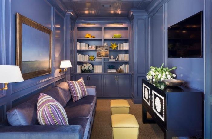 Синяя гостиная выглядит впечатляюще!
