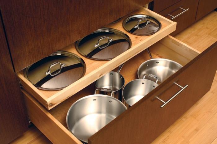 Удобный ящик для кухонной посуды.