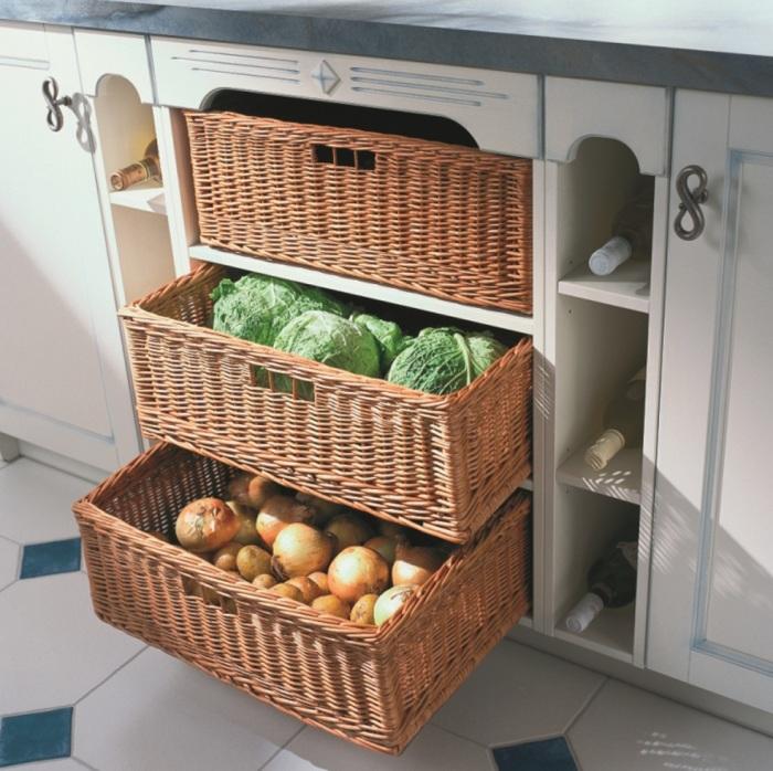 Корзины для хранения на кухне.