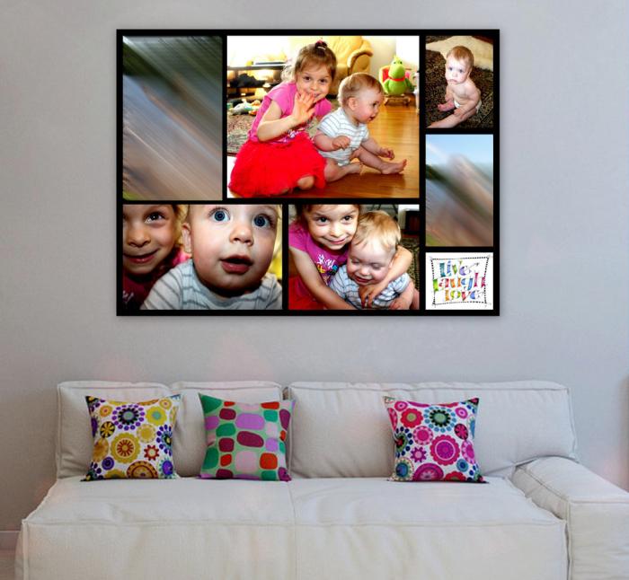 На стену можно повесить фото, собранные в коллаж.