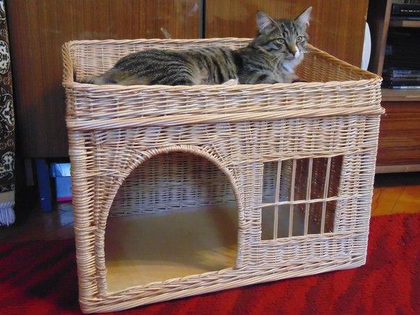 Плетеный домик для котов.