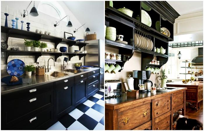 Интерьер кухни с открытыми полками.