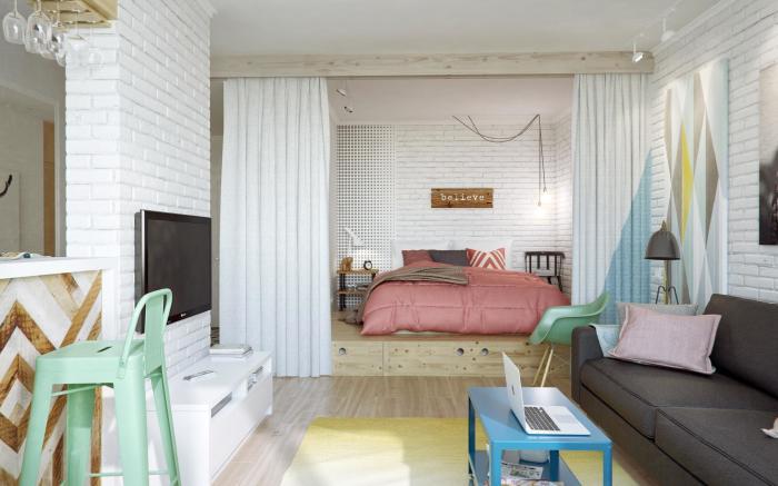 Удачный пример зонирования в однокомнатной квартире.