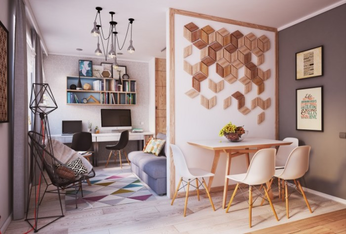 Оригинальный интерьер маленькой квартиры.