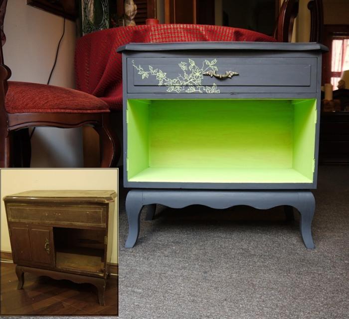 Окрашивание мебели в контрастные цвета.