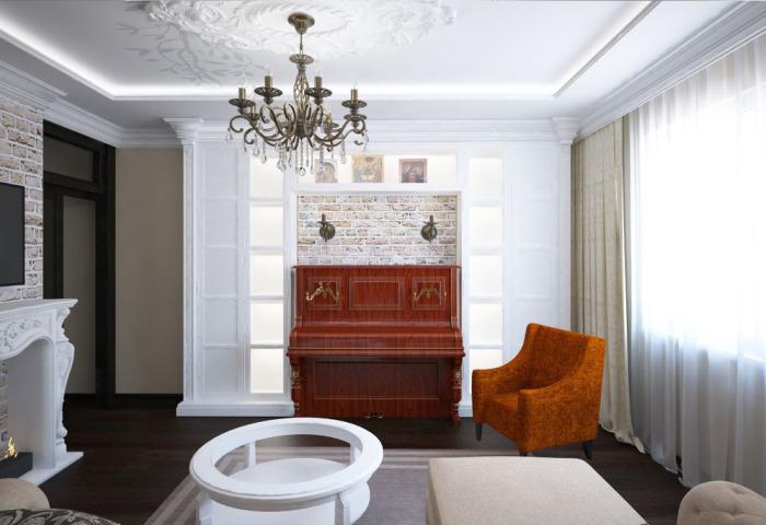 Пианино и кресло в некоклассическом интерьере.