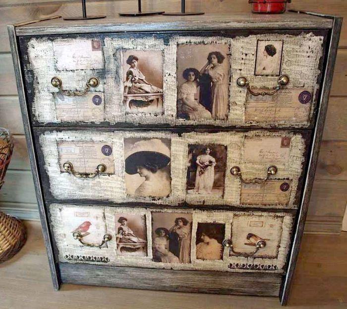 Обновление старой мебели ретро-фото.