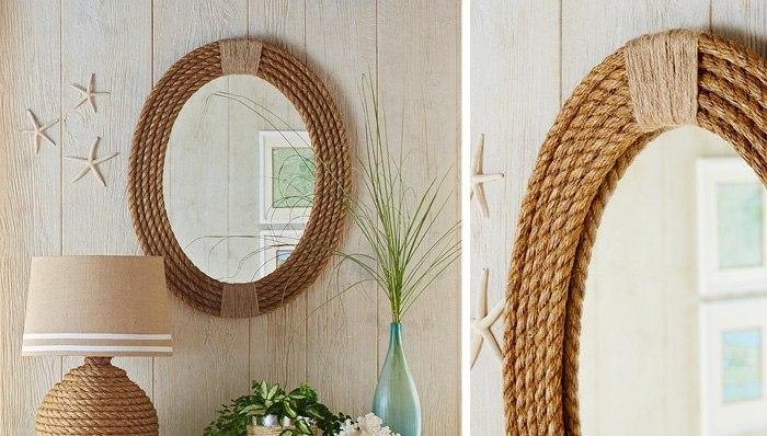 Обычная веревка становится рамой для зеркала.