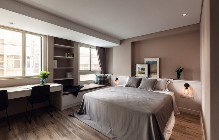 Спальня составляет единое целое с остальным жилым пространством.