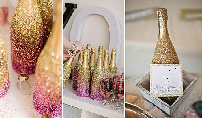 Декорированные бытылки разнообразят процесс употребления праздничных напитков.