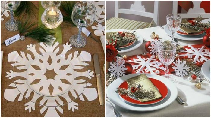 Обчные бумажные снежинки выглядят необычно на столе.
