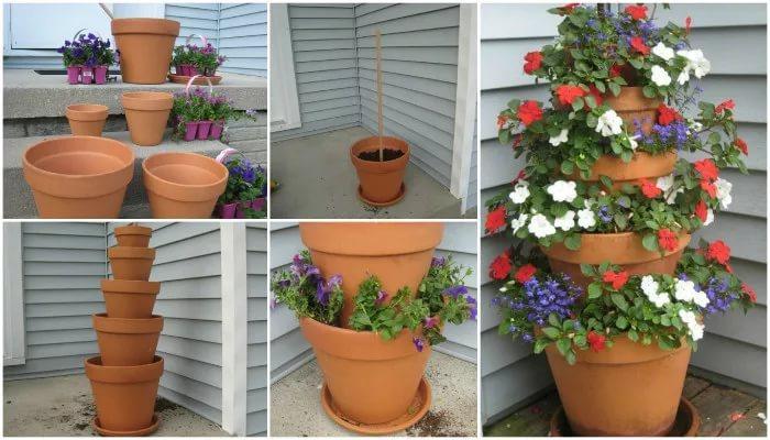 Вертикальная клумба для дачи своими руками из цветочных горшков.