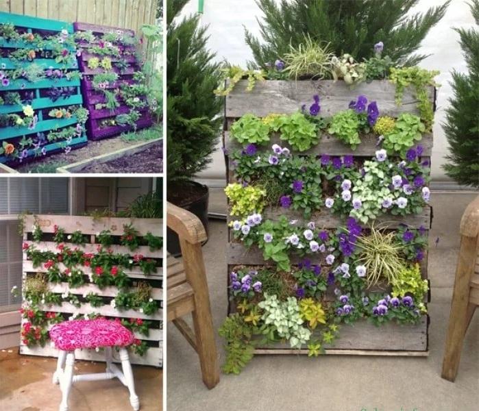 Использование палетов на даче: цветник