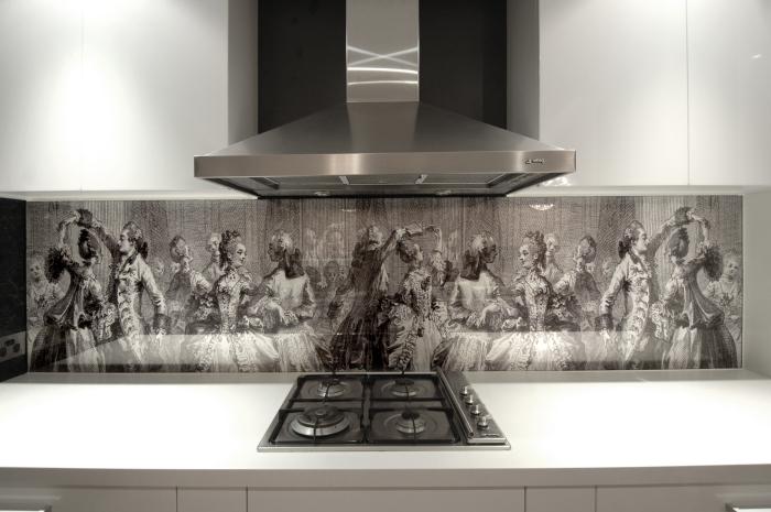 Кухонный фартук из стекла с фотопечатью в <!--