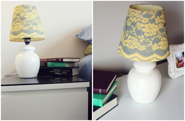 spraypaintedlampusinglace Как сделать светильник своими руками: 15 идей и фото