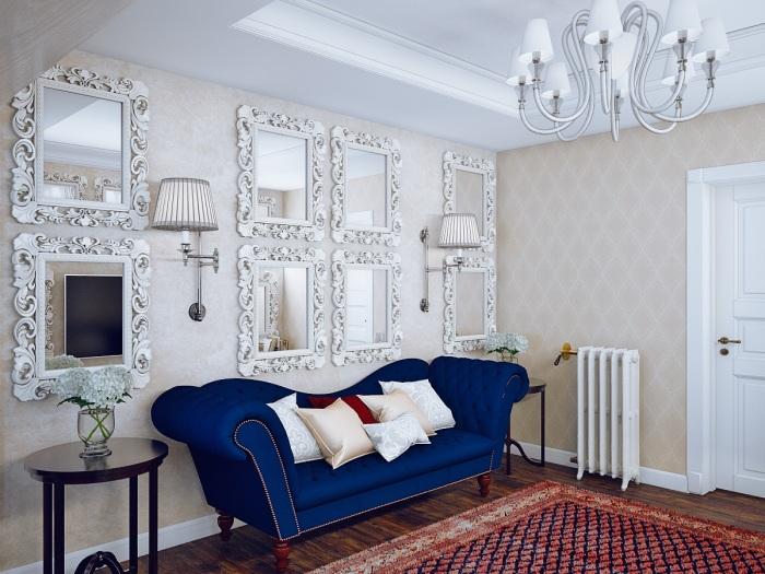 Акцентная стена, декорированная зеркалами.