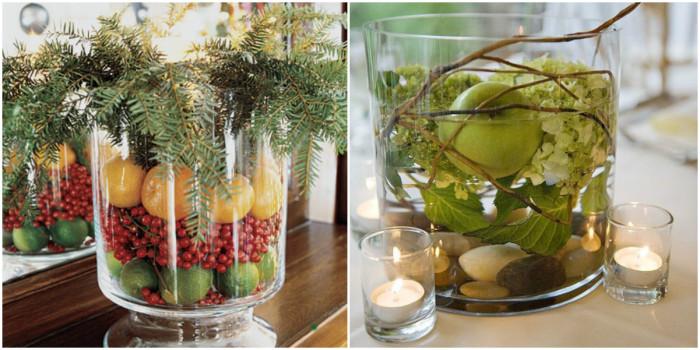 Свежий и аппетитный декор новогоднего стола.