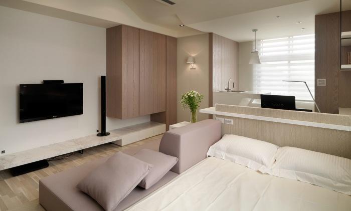 Пастельные оттенки в дизайне маленькой квартиры.