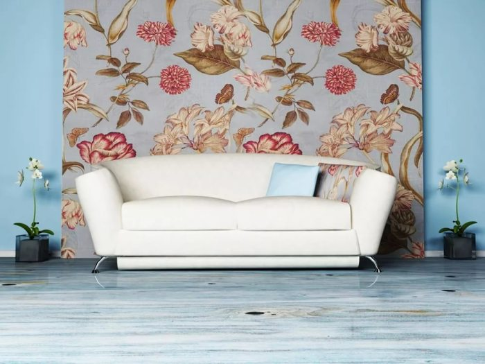 Декор стены текстильным полотном.