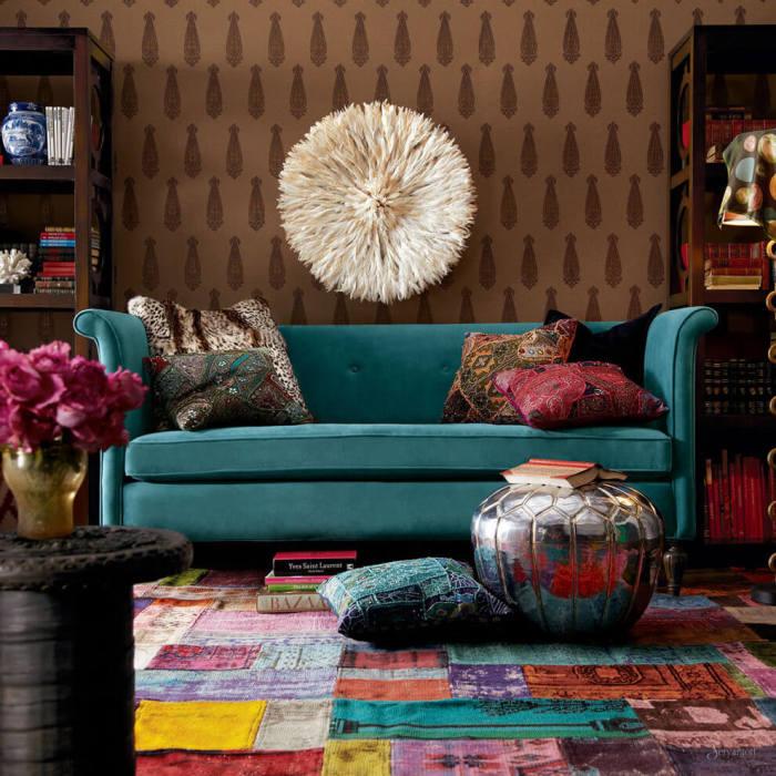 Необычное использование текстиля в интерьере гостиной.