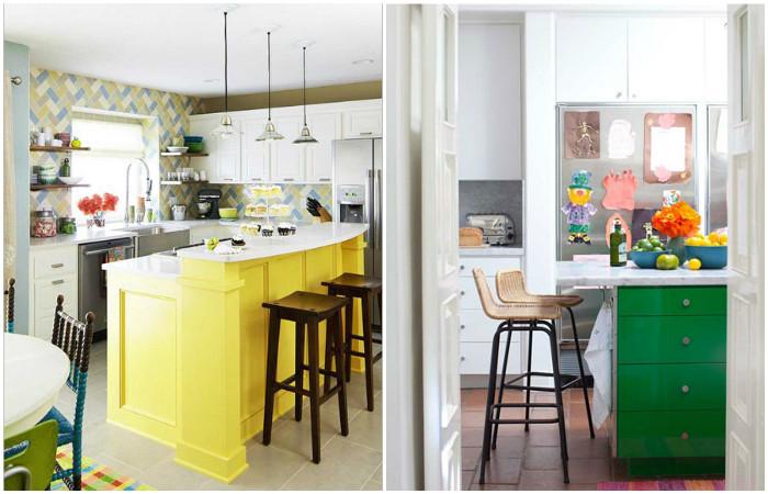 Яркий остров на белой кухне.