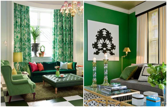 Модный зеленый в дизайне интерьера.