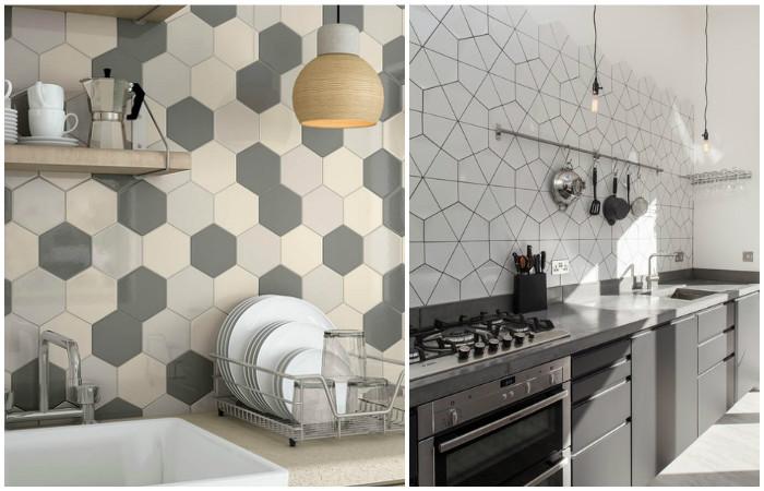 Плитка необычной кухни в дизайне интерьера.