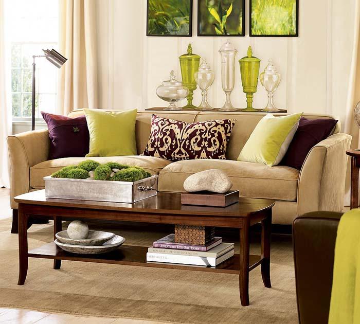 Сочетание коричневого и зеленого в интерьере.