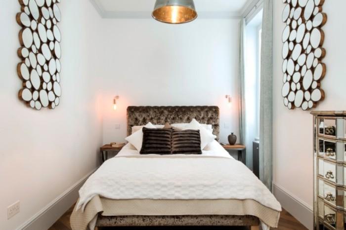 Удачный интерьер узкой комнаты с минимумом четкой геометрии.