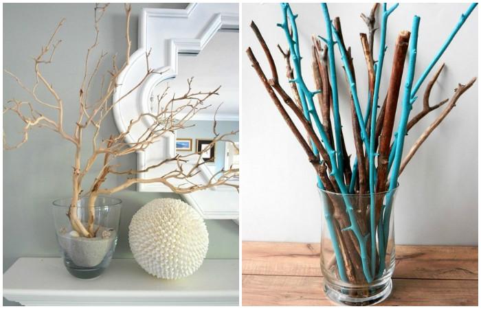 Использование веток в интерьере: декор в вазах.