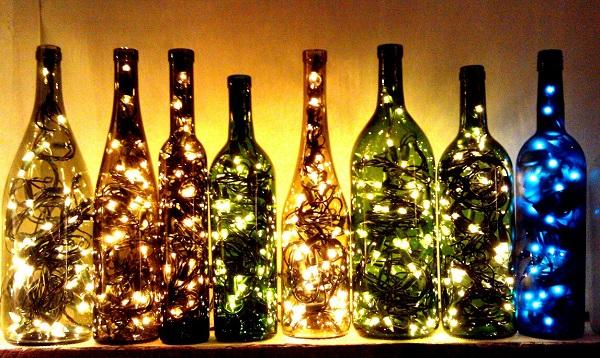 Светильник из бутылки.