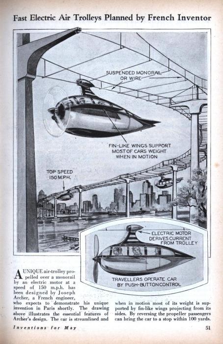Монорельсовый «летающий поезд» инженера Джозефа Арчера.