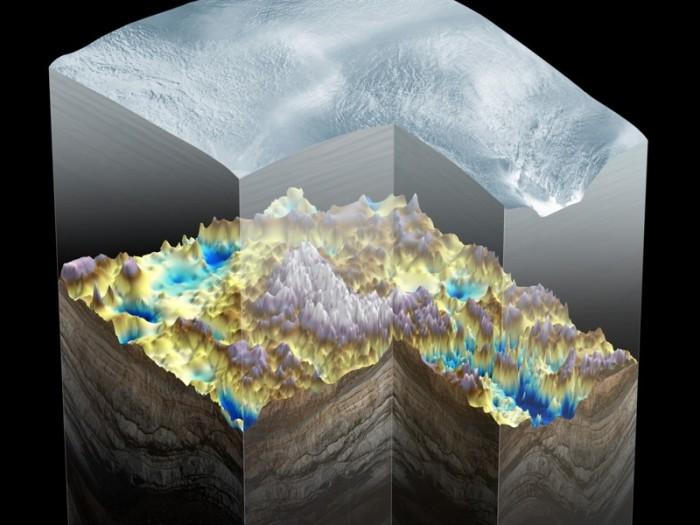 Горы под слоем льда.