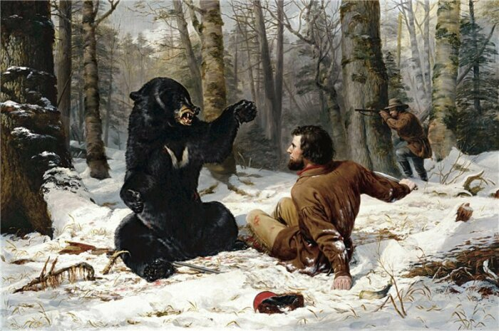 Охота на медведя без рогатины может плохо кончится, берут копья с собой даже сегодня. /Фото: Twitter.