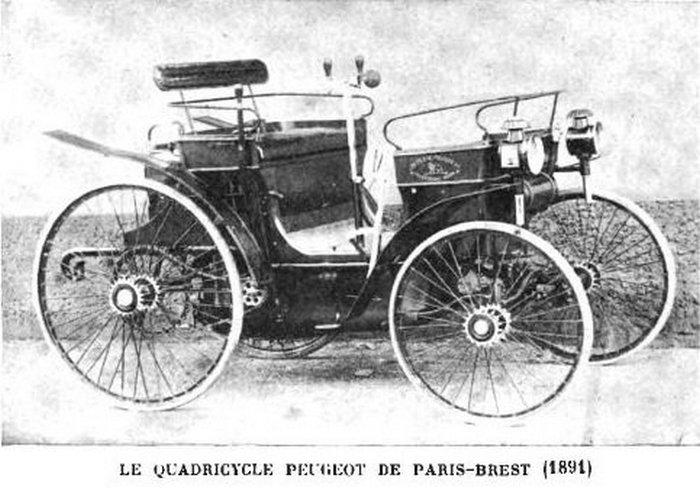 Квадрицикл Peugeot Type 3, который принял участие в гонке Париж-Брест-Париж в 1891 году.