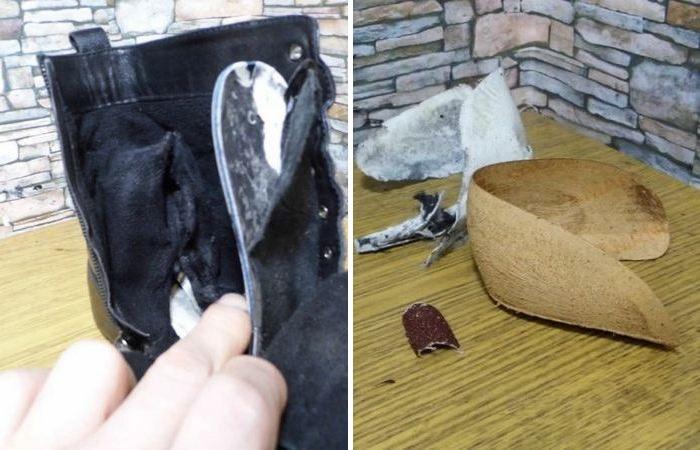 Разбираем шов внутри и извлекаем плохой задник. /Фото: ya.ru.