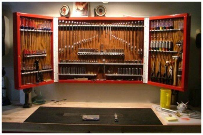 Отлично выполненная стена инструментов.