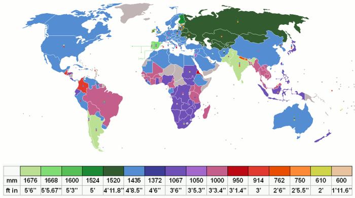 Страны и их колеи. /Фото: bygeo.ru.
