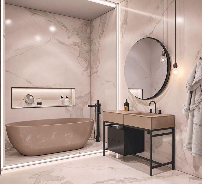 9. Мрамор в интерьере ванной комнаты.