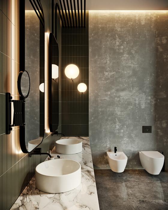 8. Микроцемент в интерьере ванной комнаты.