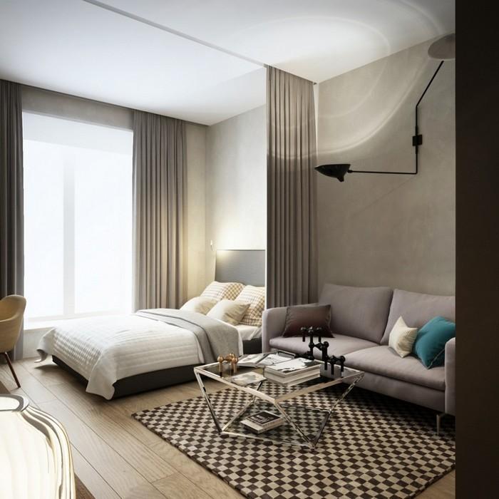 Зонировать зону спальни очень легко при помощи шторы.