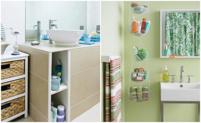 Практичные идеи для хранения в ванной комнате.
