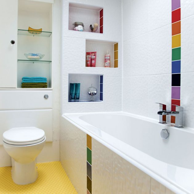 Интересный декор в ванной.